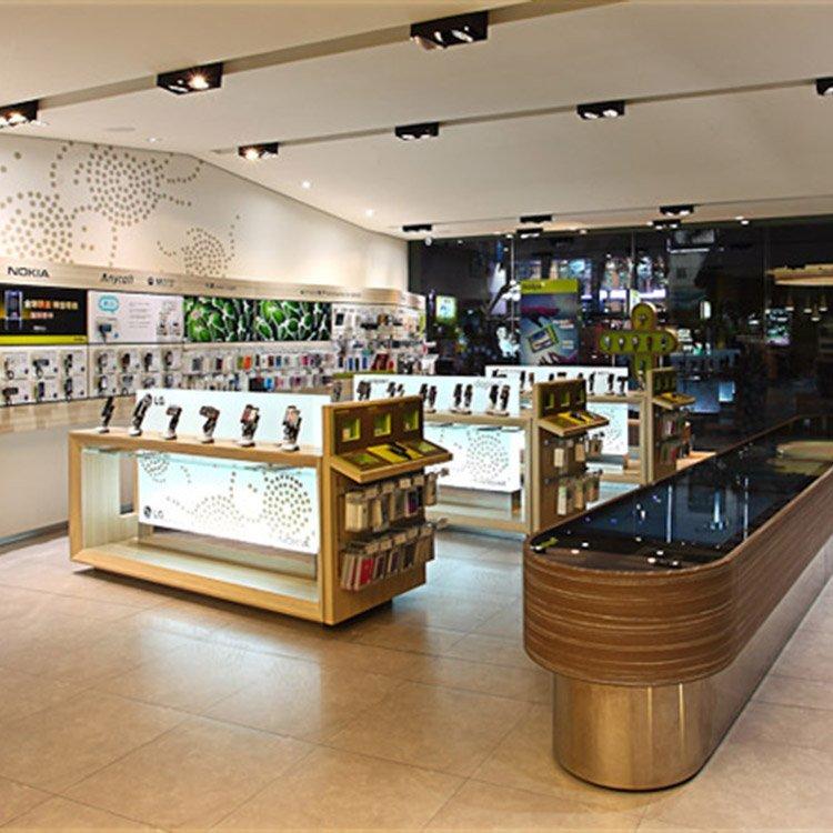 Durable store fixture for mobile phone shop interior design