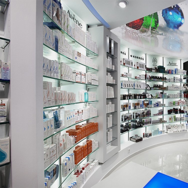 Customized pharmacy display stand for drugstore pharmacy decoration