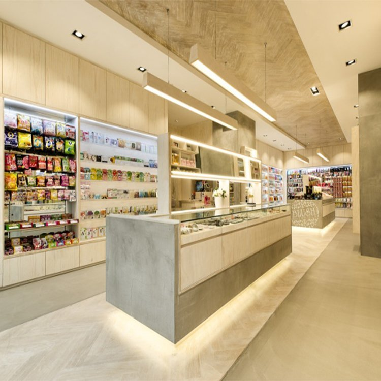 Professional plywood cosmetic shop counter design