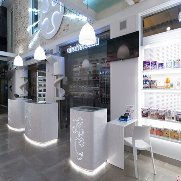 Professional wooden pharmacy shop counter design
