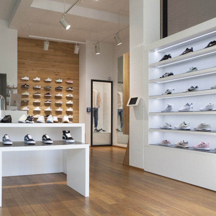 Customized wooden display equipment for shoe store