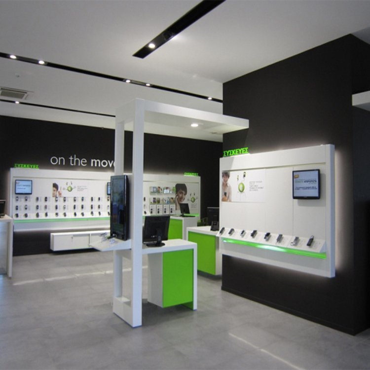 Attractive mobile phone display cabinet for mobile shop interior design