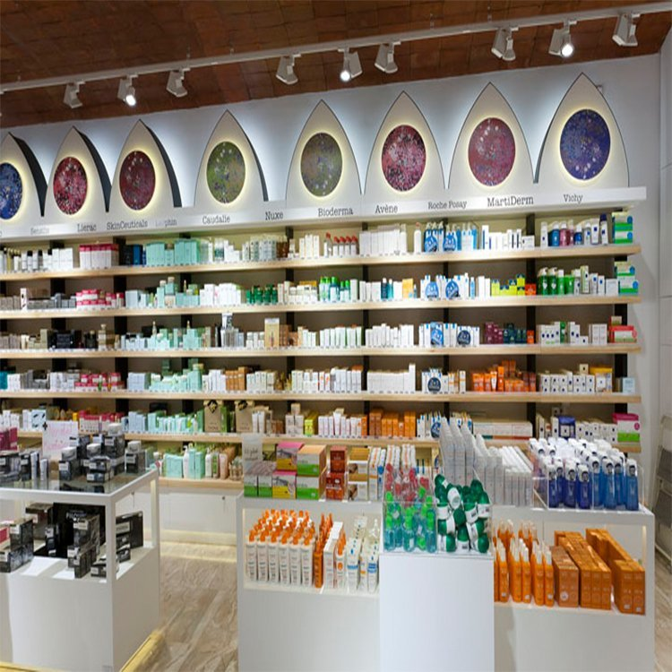 Customized wooden shop counter design furniture for pharmacy decoration