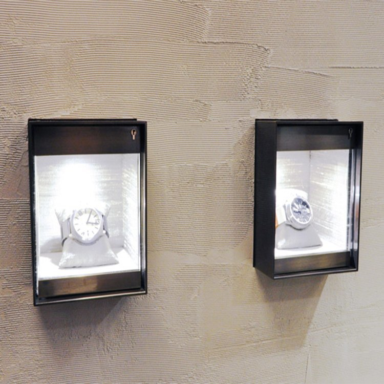 Customized wall mounted glass display for jewelry display