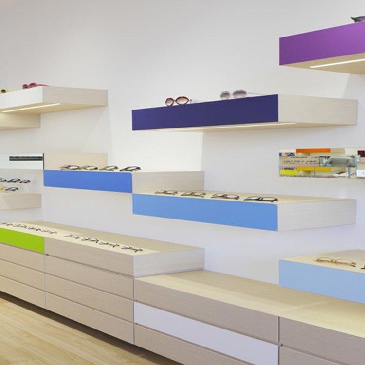 Factory customized eyewear display for optical shop interior design