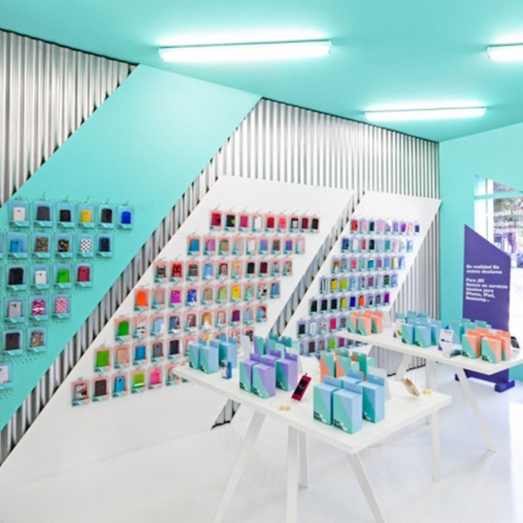Customized cell phone accessory display stand for shop interior design