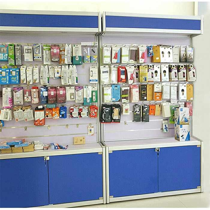 Wall mounted display stand for mobile accessories with light