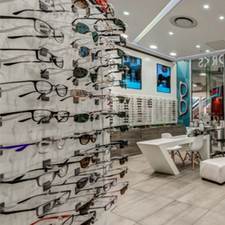 Customized sunglass display stand for sunglasses shop interior design