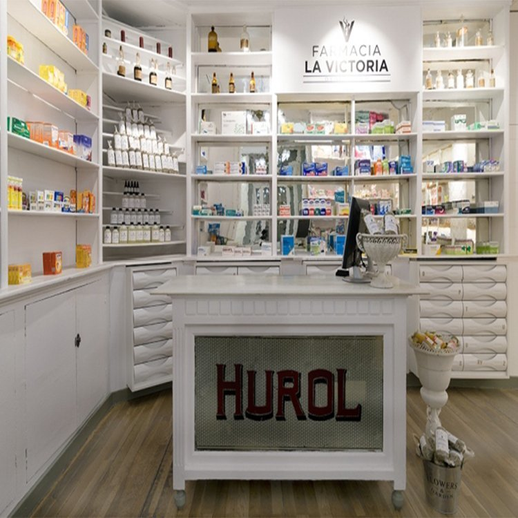Customized wall mounted floor stand pharmacy furniture for shop interior decoration