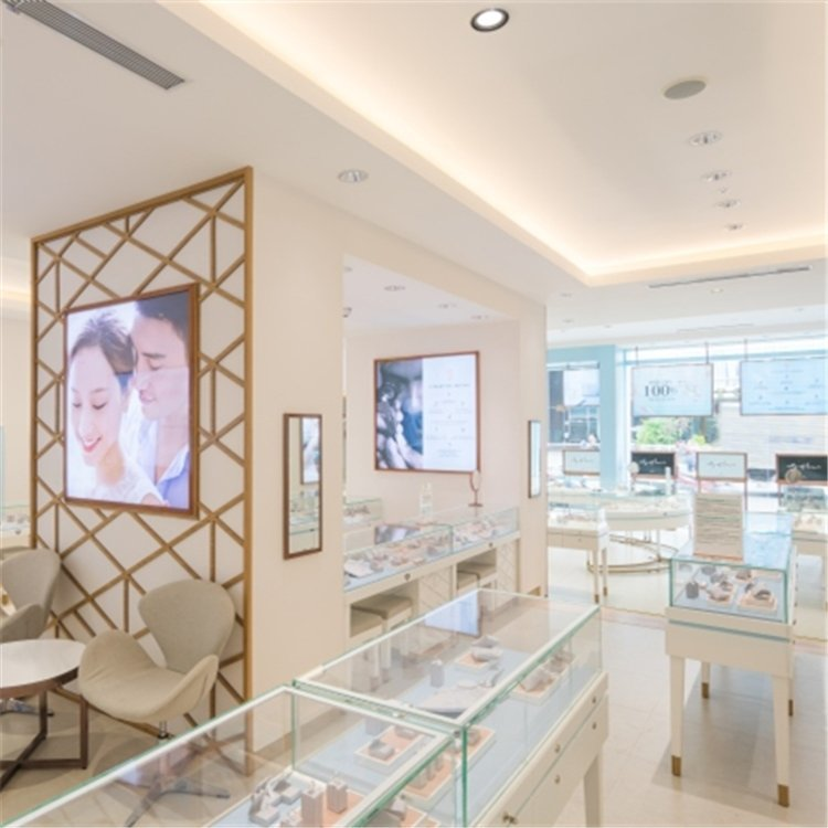 Professional customized elegant jewelry display showcase for jewelry shop interior design