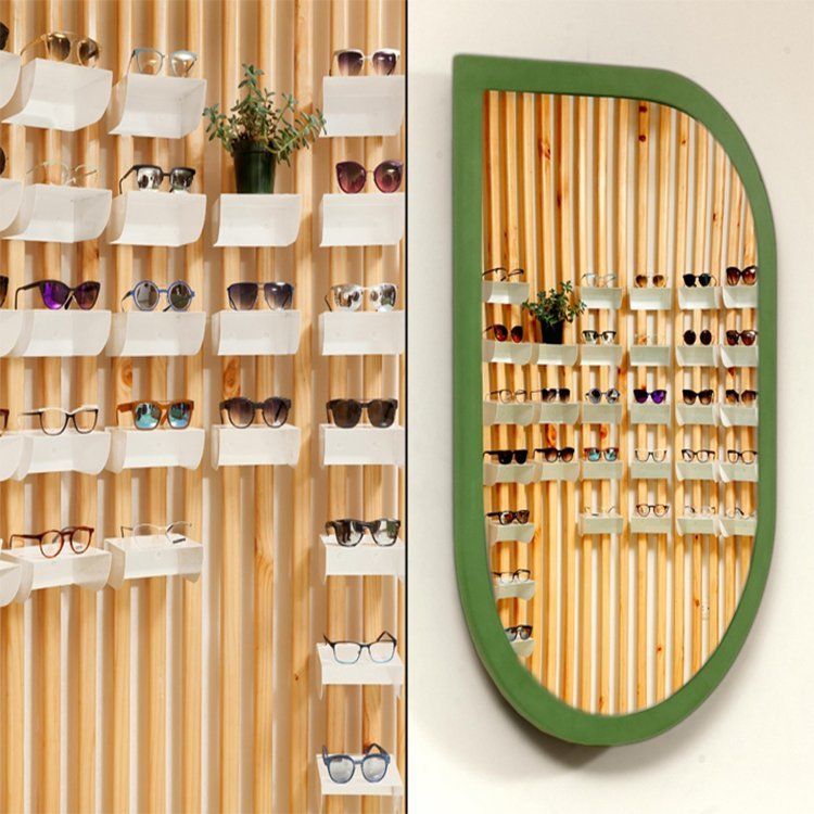 Fashionable attractive optional shop interior design for eyeglasses display counter sale