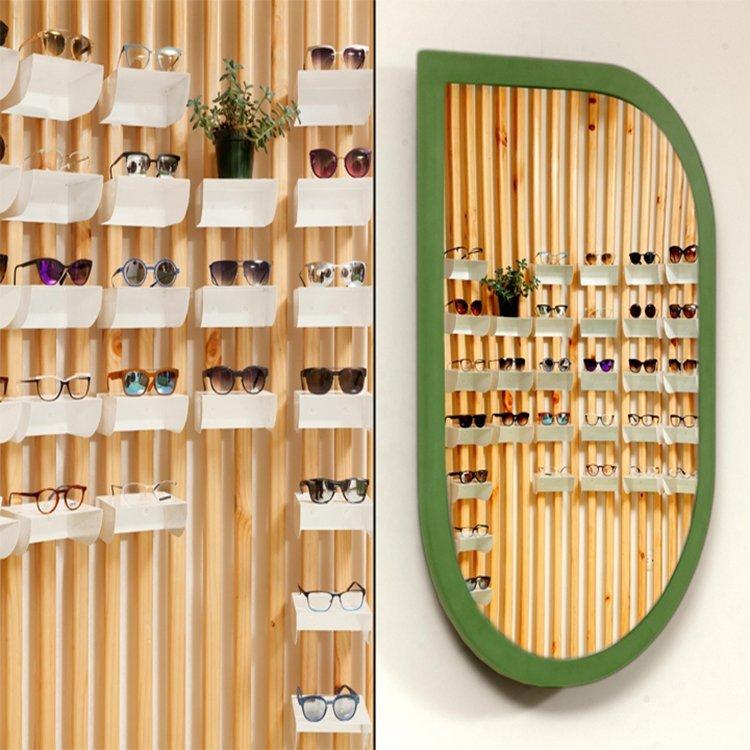 Fashionable attractive optional shop interior design for eyeglasses display counter sale