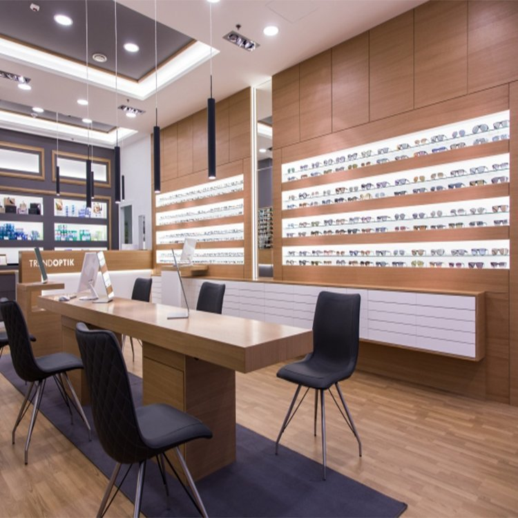 Customized durable attractive sunglasses display counter for shop interior design