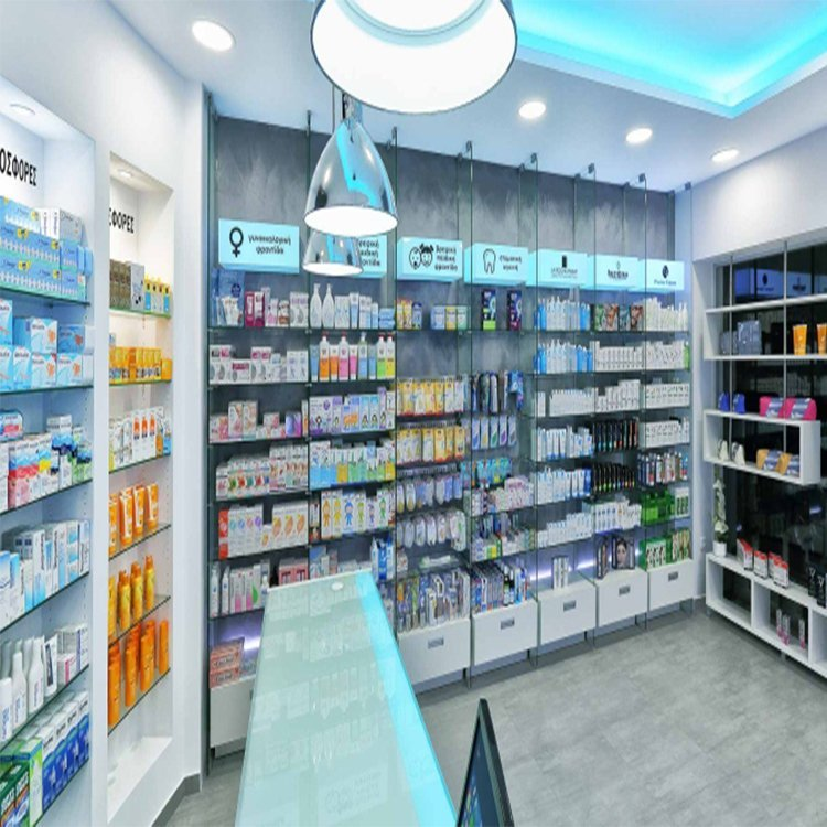 Professional retail pharmacy shop interior design with modern shop counter design