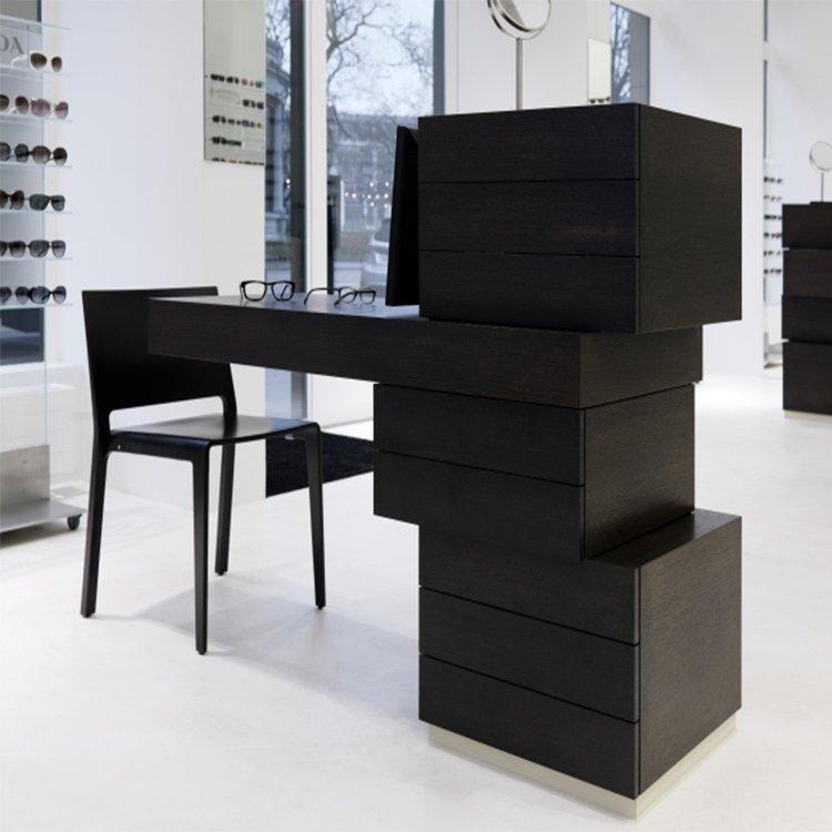 Customized new design glass shelves for eyeglass display