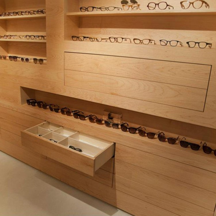Customized wooden eyeglass counter display for eyeglass sale