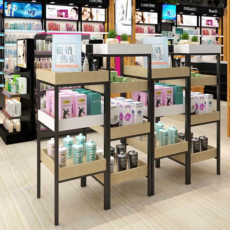 Customized high-end makeup display stand for cosmetic shop decoration