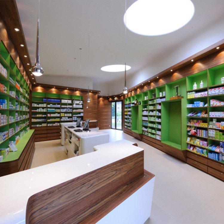 Customized drugstore display counter retail pharmacy shop interior design
