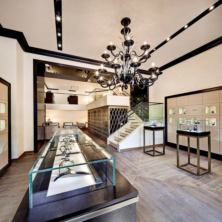 Factory customized watch glass display cabinet for watch shop interior design