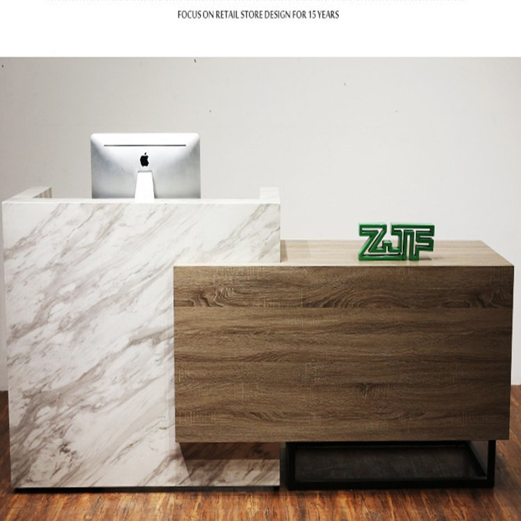 marbling and wood grain checkout counter for barber shop