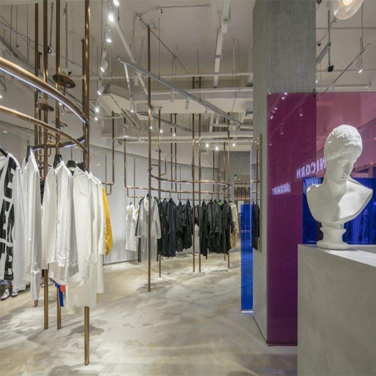 Creative attractive metal display rack for clothing shop interior design
