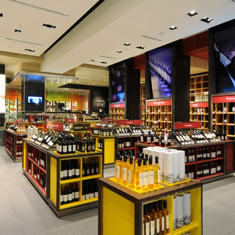 Factory customized durable wooden wine display counter for wine sale
