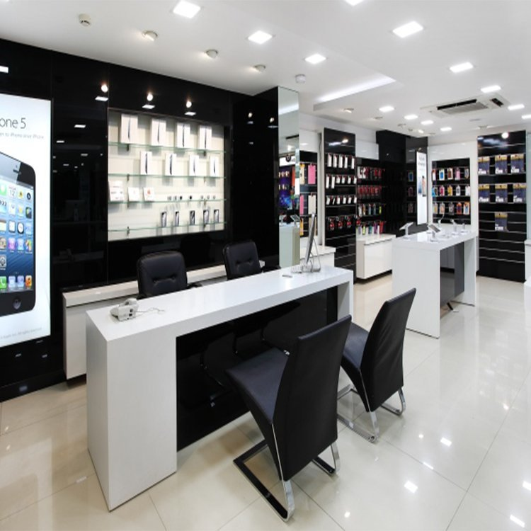 Professional modern popular mobile phone shop decoration with custom